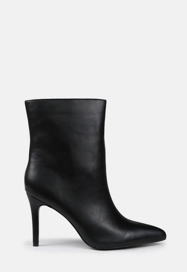 Black Mid Heel Ankle Boots