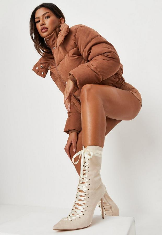 Stone Faux Suede Lace Up Pointed Toe Boots