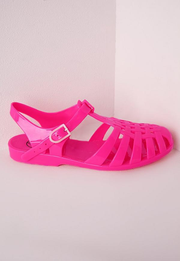 Flat Jelly Shoes Neon Pink