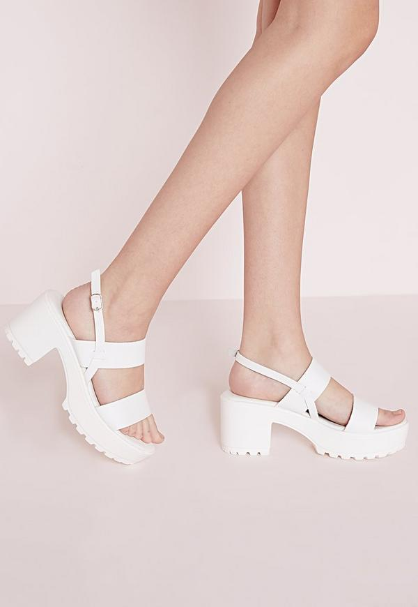 Chunky Cleated Strappy Sandals White