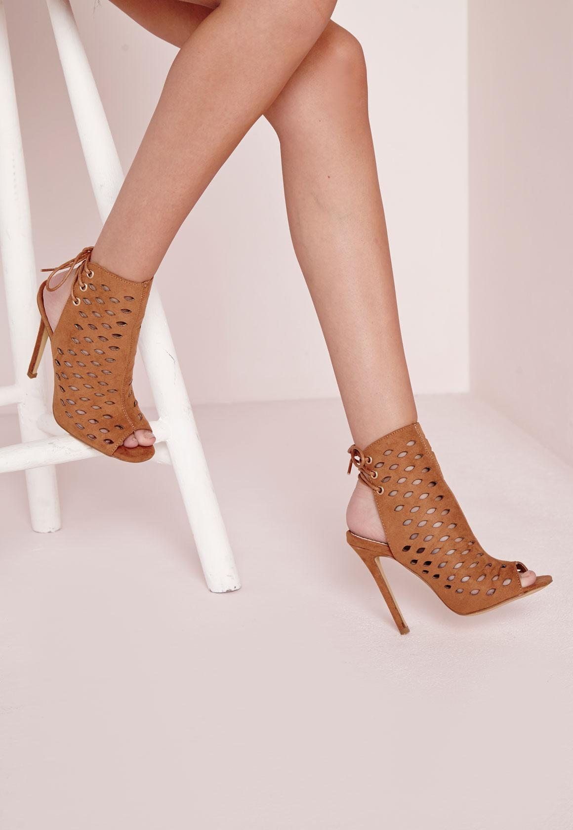 Laser Cut Tie Back Heeled Sandals Tan | Missguided