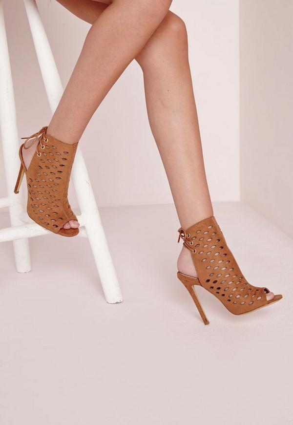 Laser Cut Tie Back Heeled Sandals Tan