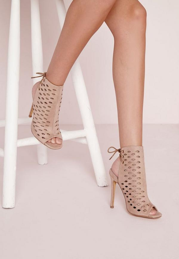 Laser Cut Tie Back Heeled Sandals Nude