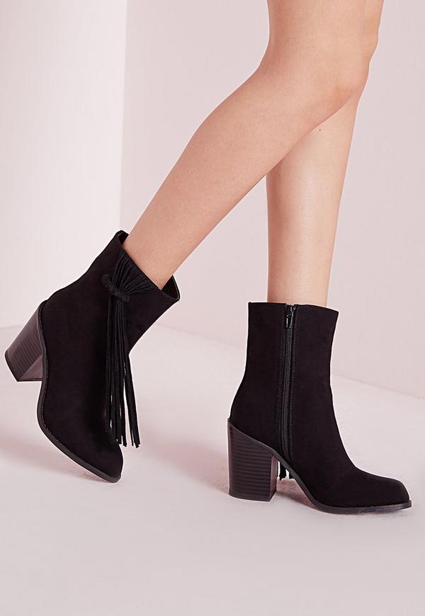 Tassel Trim Heeled Ankle Boots Black