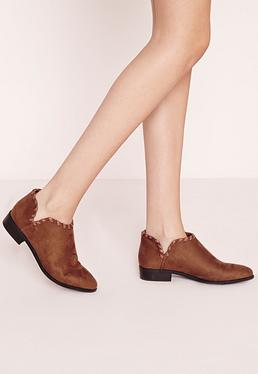 flat woven detail ankle boots tan