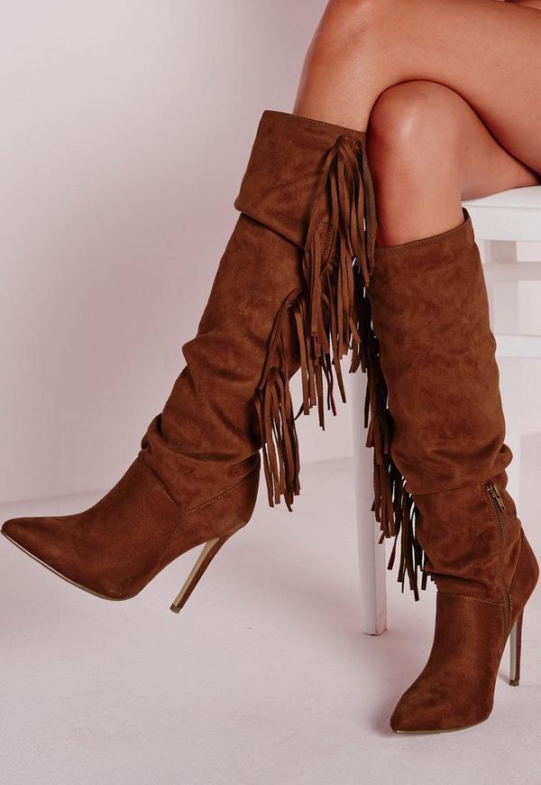 Heeled Tassel Knee High Boots Tan