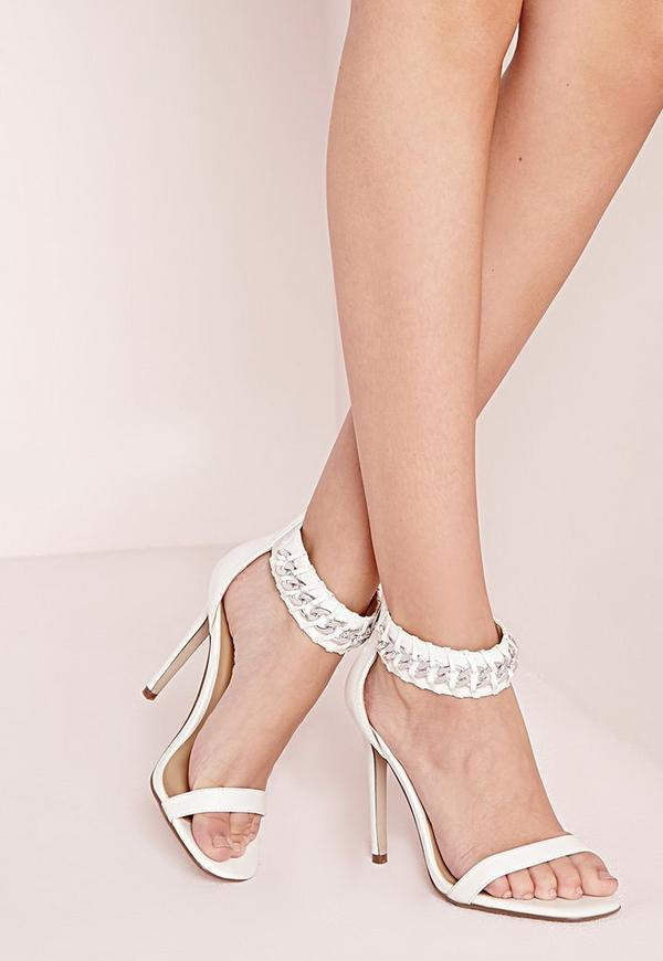 Chain Strap Barely There Heeled Sandals White