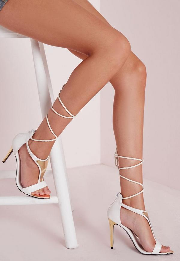 Gold T Bar Ankle Tie Sandals White
