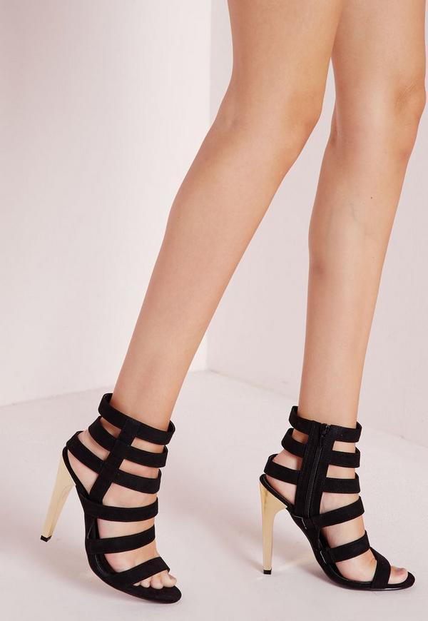 Gold Heel Strappy Sandals Black