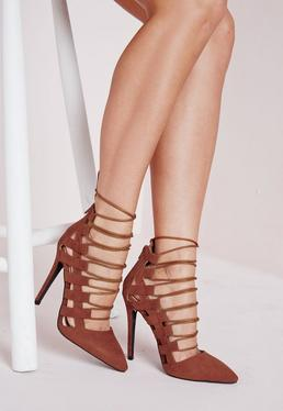 Pointed Toe Lace Up Pumps Tan