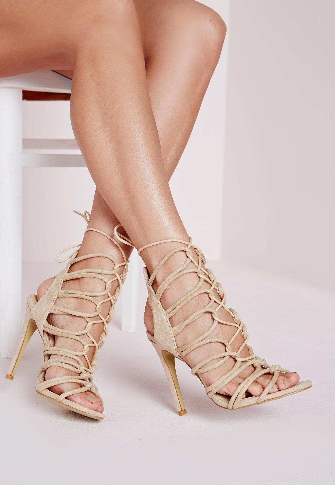 Rope Lace Up Gladiator Heeled Sandals Nude | Missguided