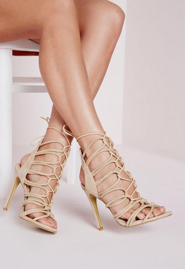 Rope Lace Up Gladiator Heeled Sandals Nude