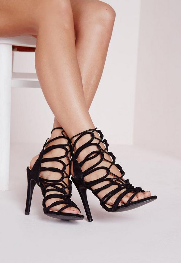 Rope Lace Up Heeled Gladiator Sandals Black