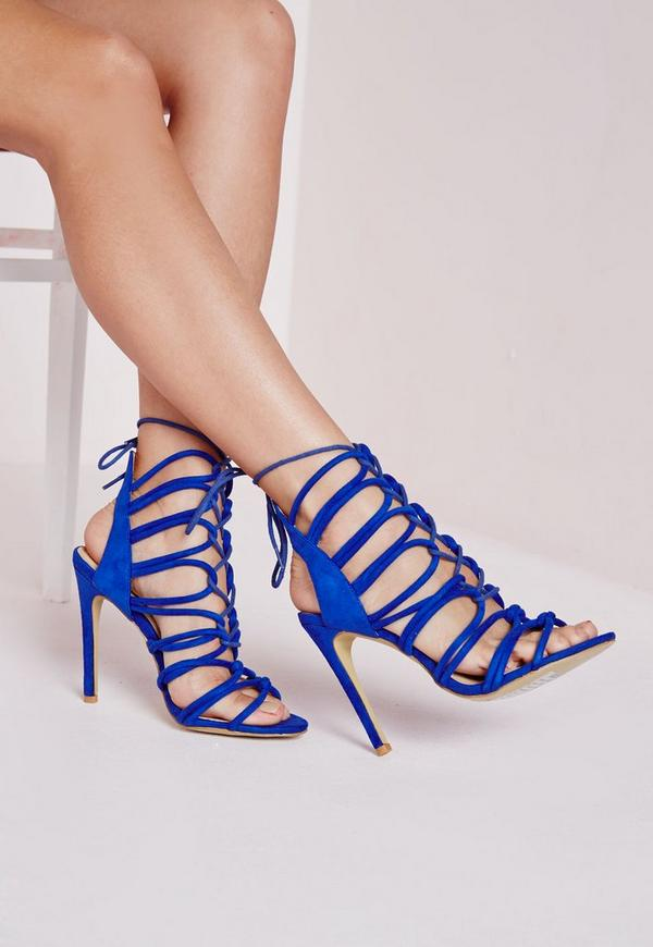 Rope Lace Up Heeled Gladiator Sandals Cobalt Blue | Missguided