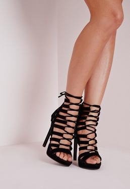 Platform Lace Up Heels Black