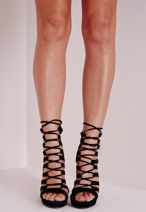 Platform Lace Up Heels Black | Missguided