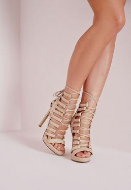 Platform Lace Up Heels Nude