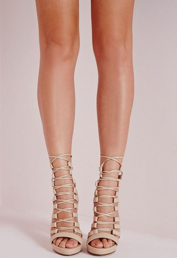 Platform Lace Up Heels Nude - Shoes - High Heels - Missguided