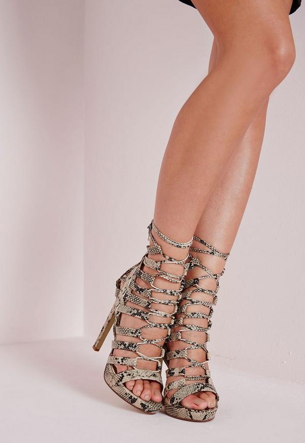 Platform Lace Up Heels Snake