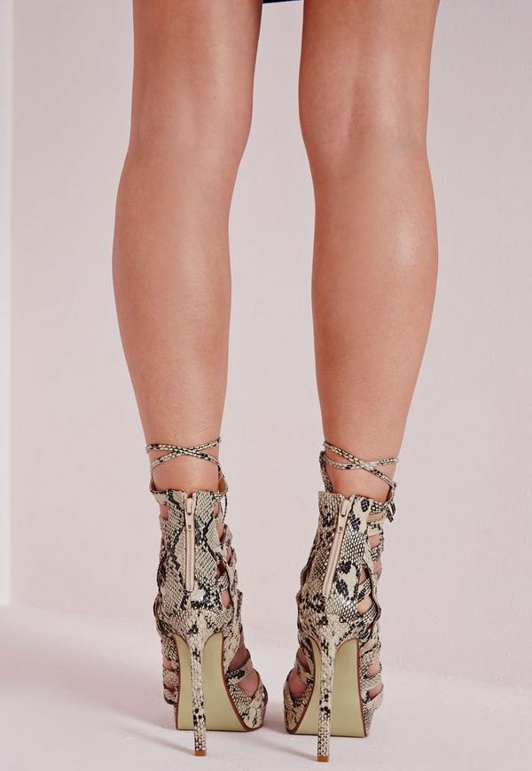 Platform Lace Up Heels Snake | Missguided