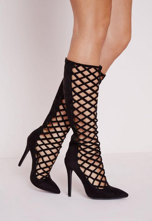 Mid Length Laser Cut Court Shoes Black