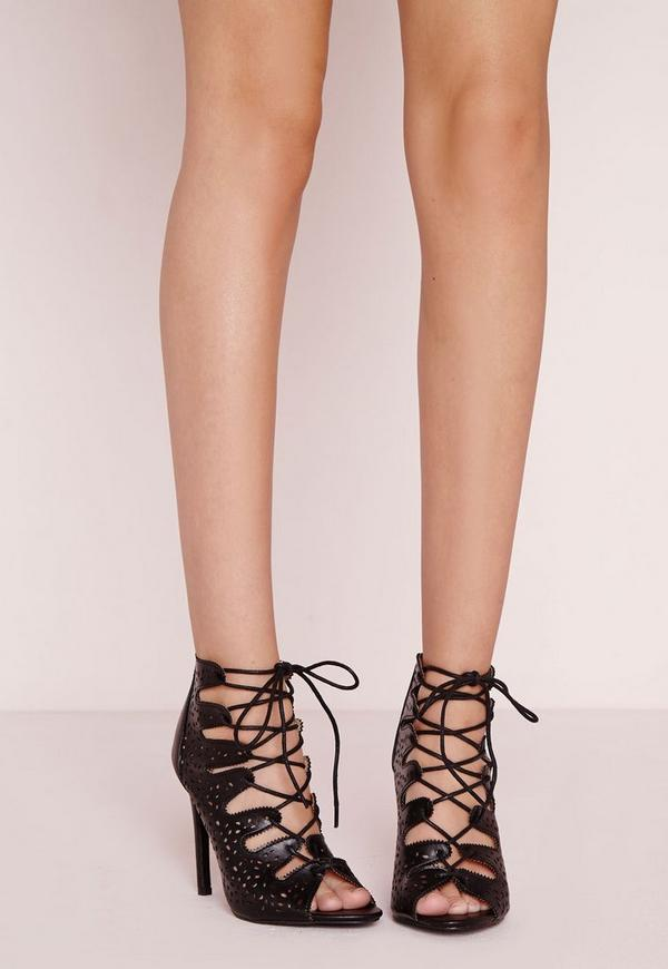 Laser Cut Lace Up Heeled Sandals Black