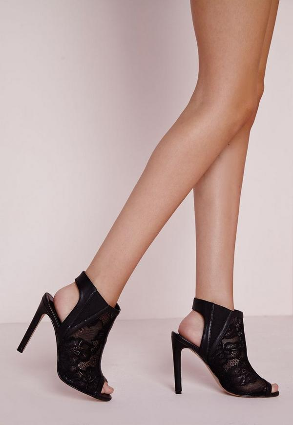Peep Toe Cut Out Boots Black