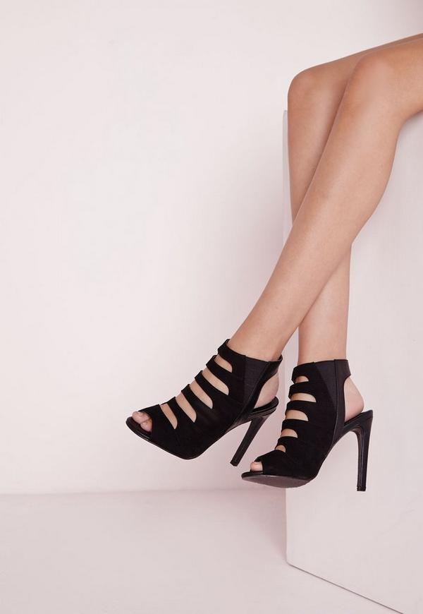 Cut Out Heeled Boots Black