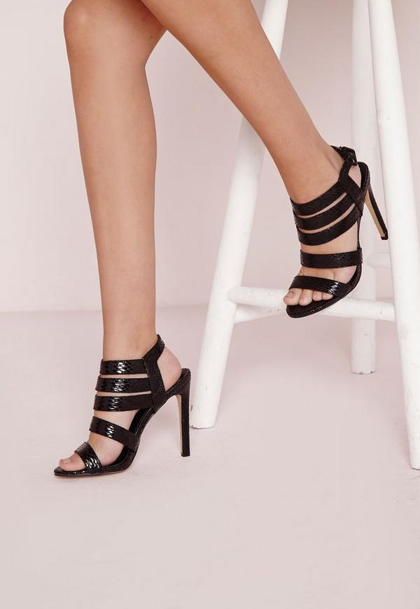Reptile Thick Strap Heeled Sandals Black Snake