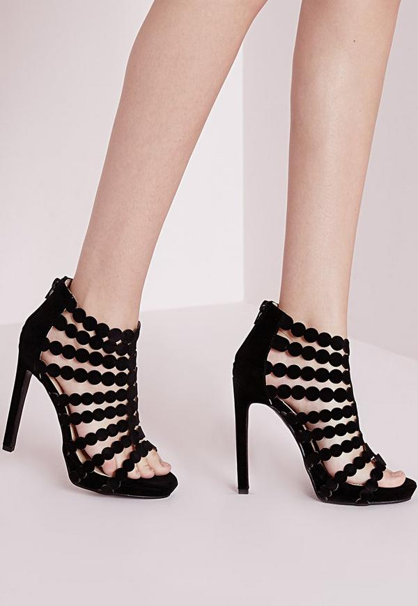 Caged Platform Heeled Sandals Black