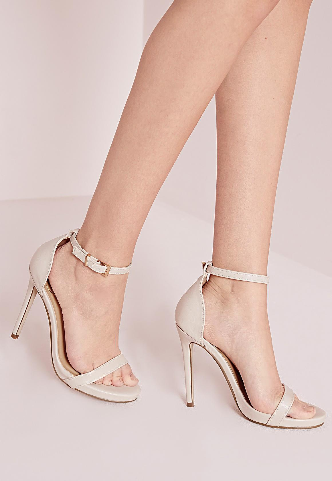 Barely There Heeled Sandals Nude | Missguided