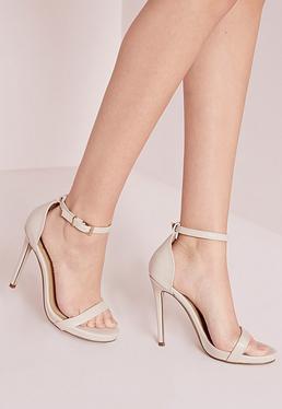 Sandales à talon et bride de cheville nude