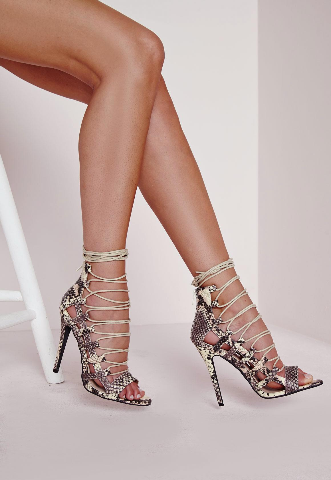 Peep Toe Lace Up Heeled Sandals Snakeskin | Missguided