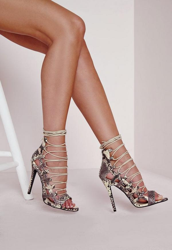 Peep Toe Lace Up Heeled Sandals Snakeskin