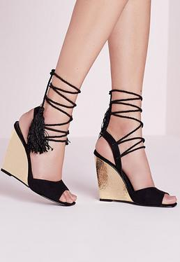 Satin Tassel Lace Up Single Sole Wedges Black