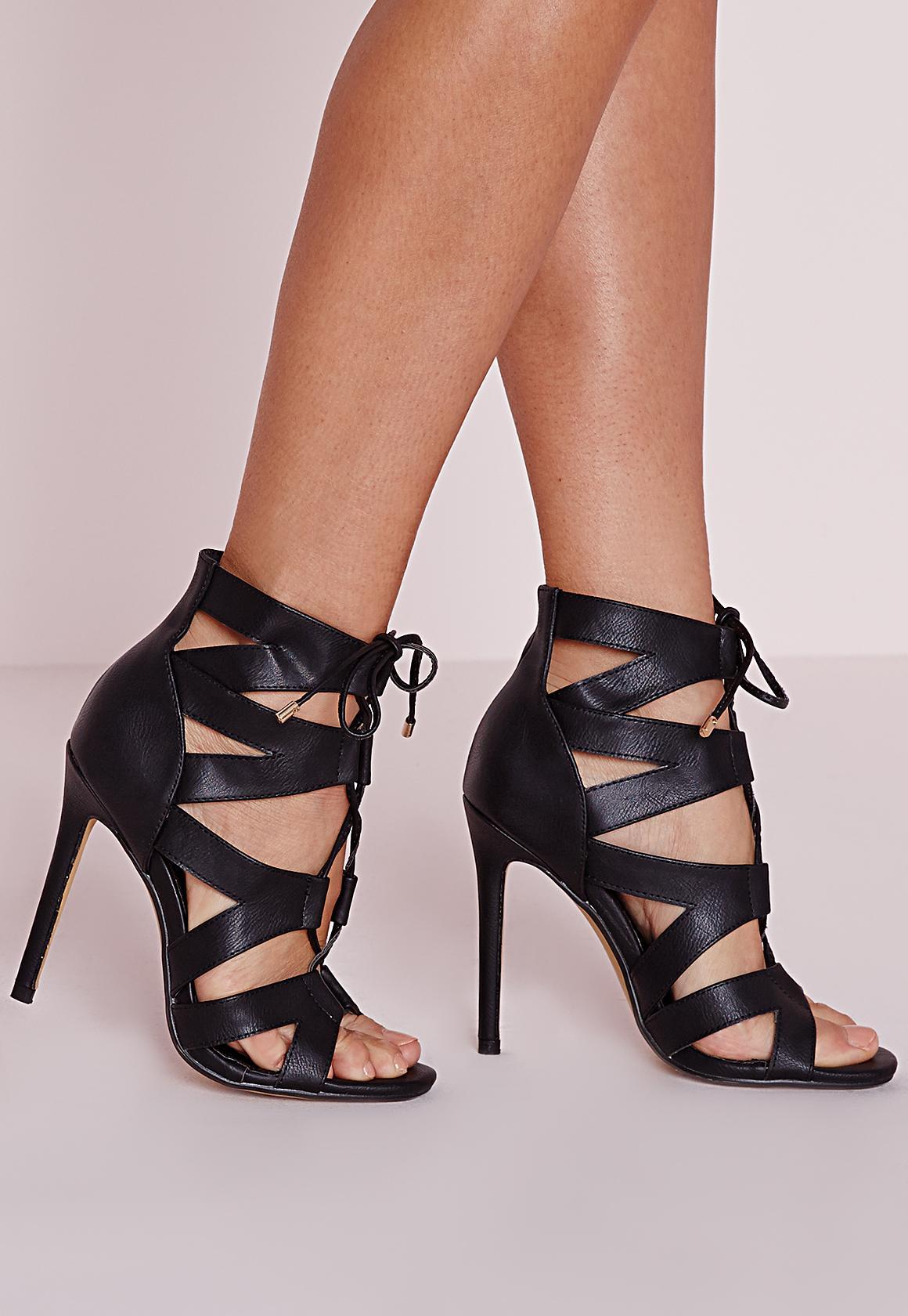 Cut Out Lace Up Gladiator Heels Black - Footwear - High Heels ...