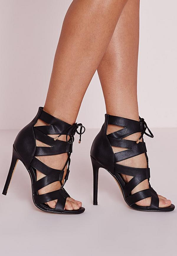 Cut Out Lace Up Gladiator Heels Black