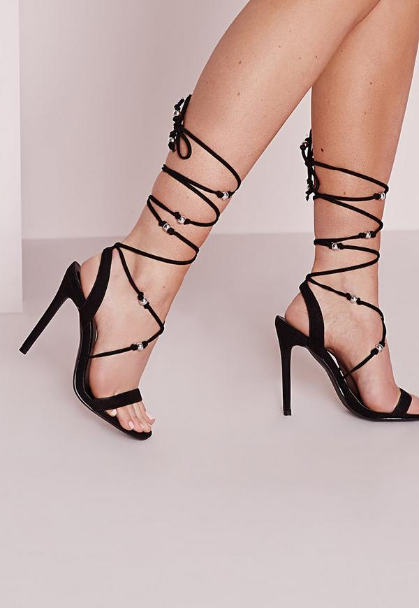 Embellished Lace Up Heeled Sandals Black