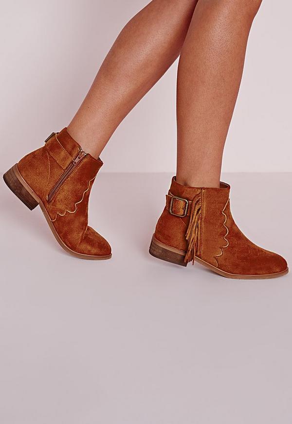Tassel Detail Western Ankle Boots Tan