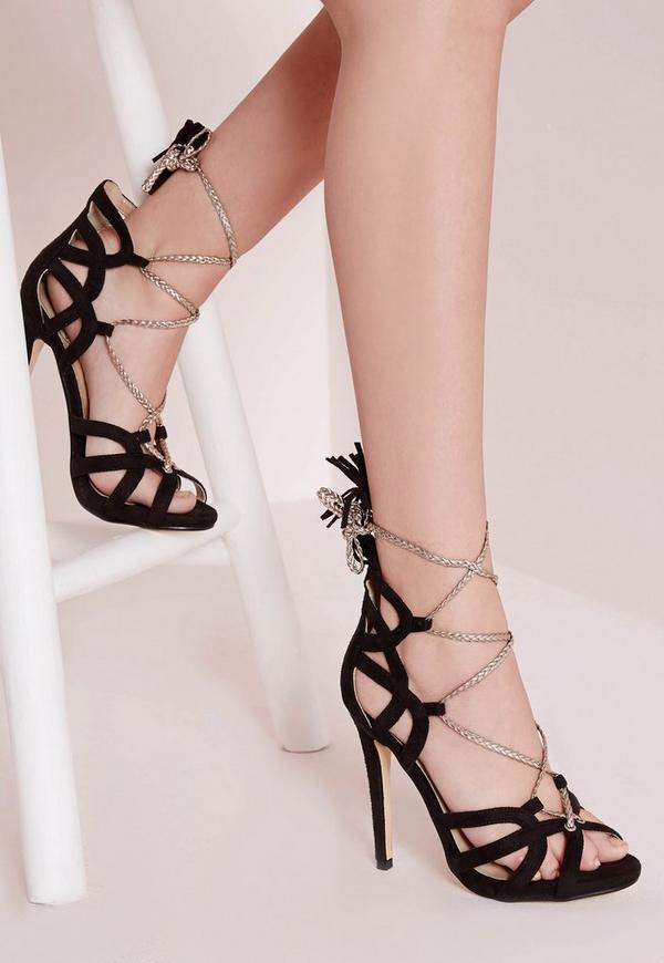Plaited Rope Lace Up Heeled Sandals Black