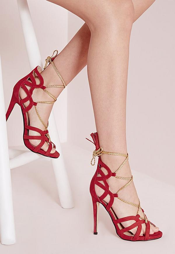 Plaited Rope Lace Up Heeled Sandals Red