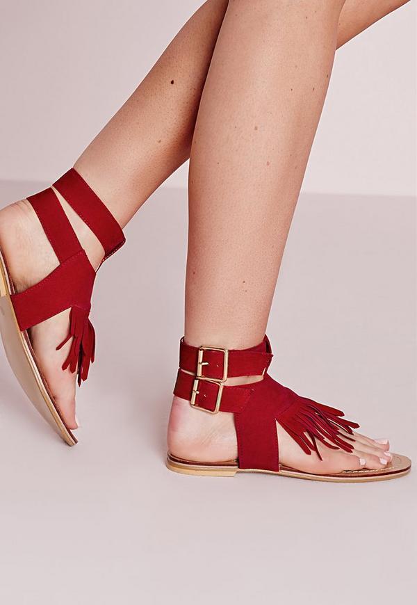 Tassel Front Flat Sandals Red