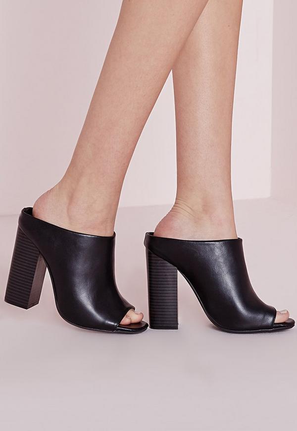 Asymmetric Slip On Mule Black