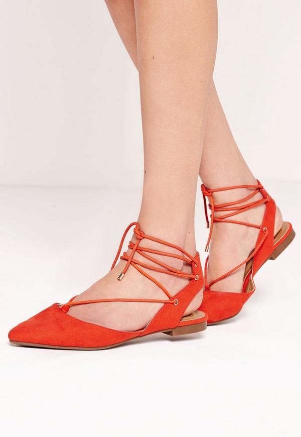 Lace Up Slingback Flat Shoes Red