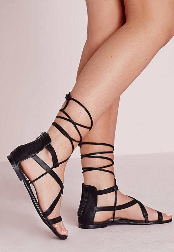 Strappy Lace Up Flat Sandals Black