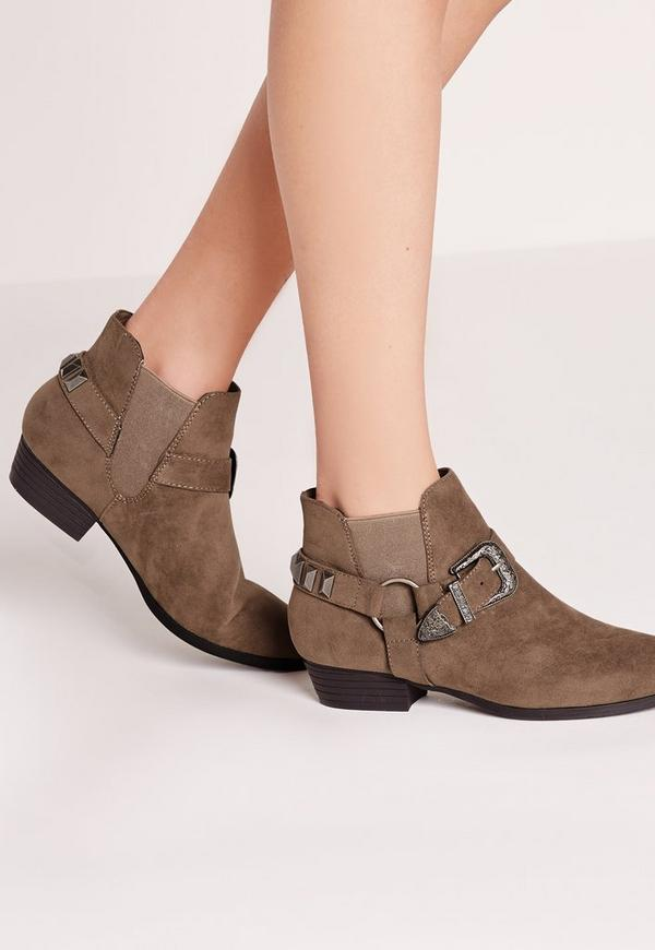 Western Trim Ankle Boots Taupe