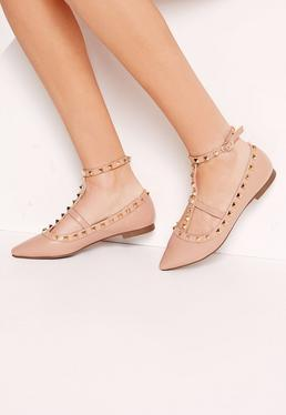 Studded Strap Flat Shoes Nude