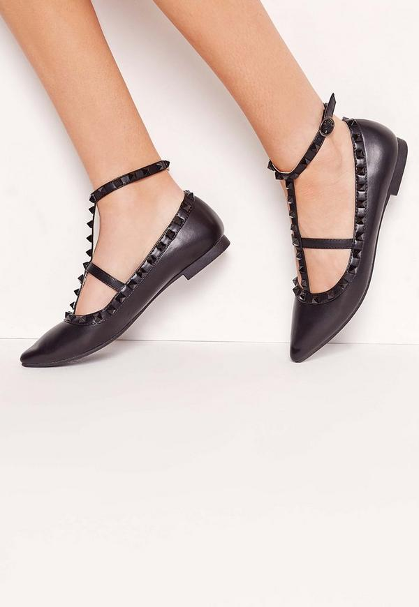 Studded Strap Flat Shoes Black