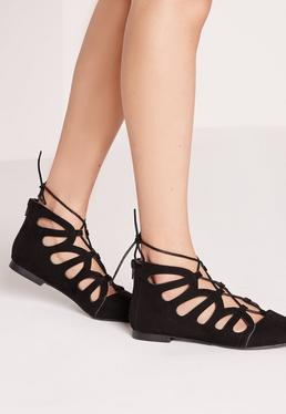 Cut Out Flat Shoes Black