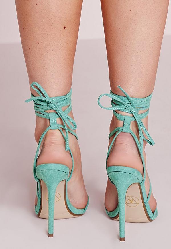 sandales lacets talon haut vertes missguided. Black Bedroom Furniture Sets. Home Design Ideas